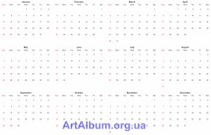 Clipart calendar grid 4x3 for 2014 (English)
