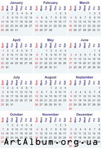 Clipart calendar for 2018 in english