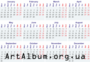 Clipart calendar for 2019 in english