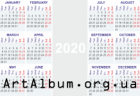 Clipart calendar for 2020 in english