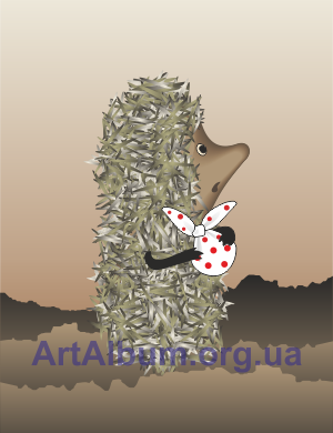 Clipart hedgehog in the fog