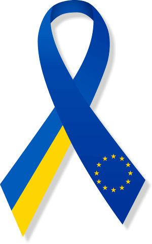 Clipart ribbon Ukraine-Europe with shadow