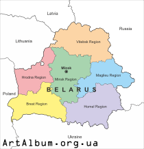 Clipart map of Belarus in english