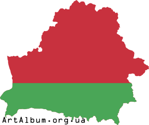 Clipart map of Belarus with flag