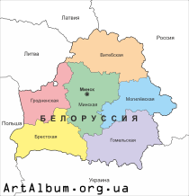 Clipart map of Belarus in russian