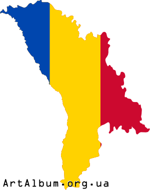 Clipart map of Moldova with colors of flag