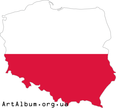 Clipart map of Poland (Polska) with flag