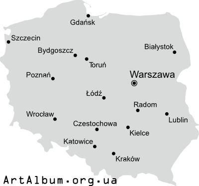 Clipart map of Poland (Polska) in Polish