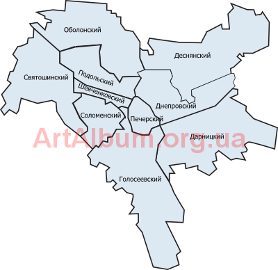 Clipart boundaries of districts of Kyiv (russian)