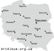 Clipart map of Poland (Polska) in ukrainian