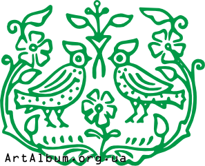 Clipart ornament with flowers and birds
