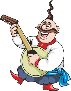 Clipart cossack is playing the Bandura