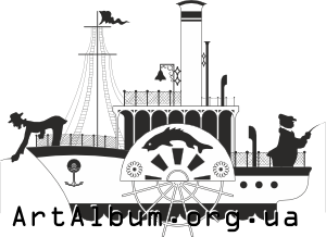 Clipart steamship with fishermen