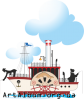 Clipart steamship with fishermen in color