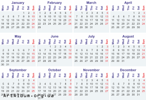 Clipart calendar for 2016 in english