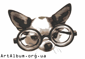 Clipart dog in glasses in color