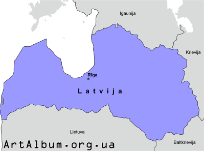 Clipart Latvia map in latvian